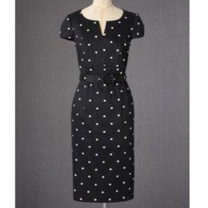 Boden Smart Shift Dress Belted Dot Black Sz US 8R
